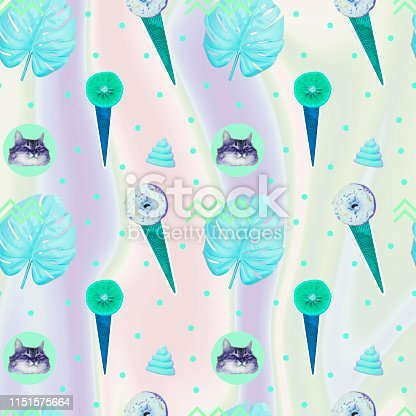 istock Pattern of ice creams, cat heads, unicorn pink poo and monstera leaves on gradient holographic background 1151575664