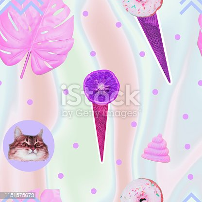 istock Pattern of ice creams, cat heads, unicorn pink poo and monstera leaves 1151575673