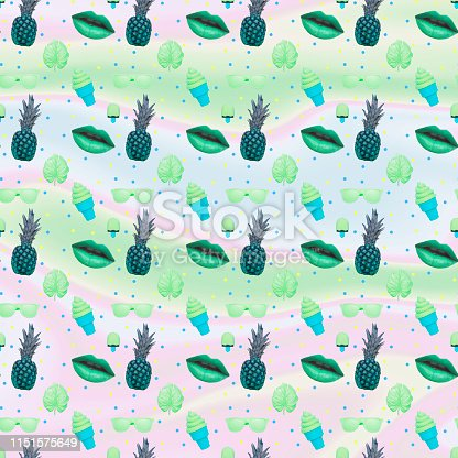 1014178164 istock photo Pattern of ice creams, monstera leaves, green lips, sunglasses and pineapple on holographic foil 1151575649