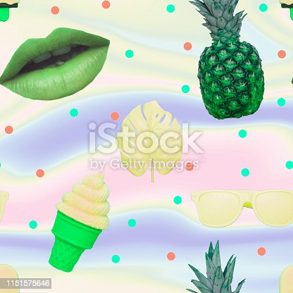 1014178164 istock photo Pattern of ice creams, monstera leaves, green lips, sunglasses and pineapple 1151575646