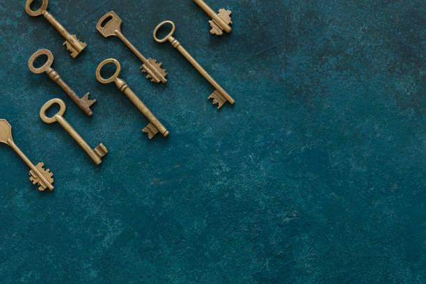Padrão de muitas chaves antiguidades diferentes - foto de acervo