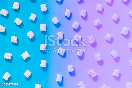 Pattern of marshmallow on gradient and holographic background