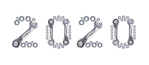 Pattern of metal nuts for bolts, numbers 2020 New Year, isolate on a white background. Spare parts for fastenings designs, Christmas card holiday greetings. Ratchet Wrench. Pattern of metal nuts for bolts, numbers 2020 New Year, isolate on a white background. Spare parts for fastenings designs, Christmas card holiday greetings. Ratchet Wrench. washer fastener stock pictures, royalty-free photos & images