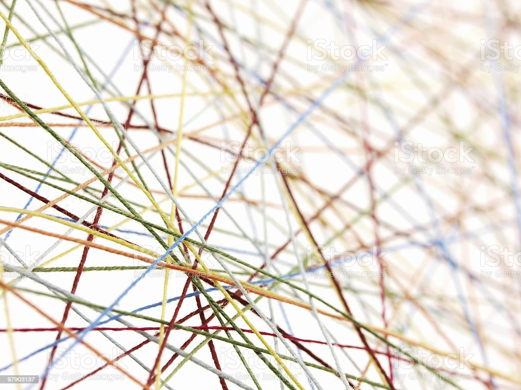 Pattern of multicolored, tightly strung, cotton threads stock photo