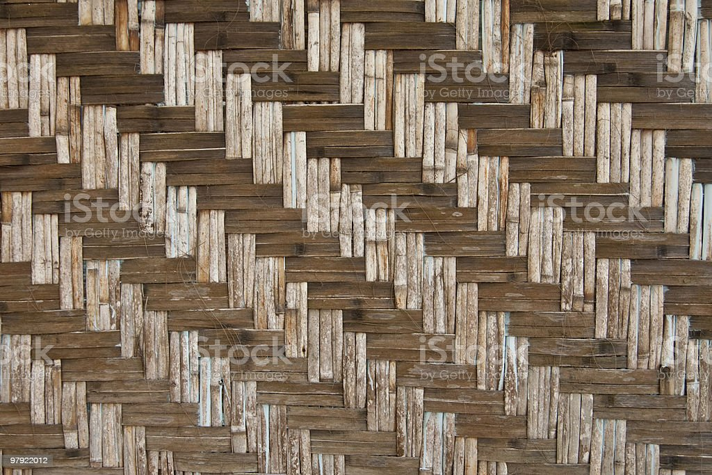 Pattern of native Thai style bamboo wall royalty-free stock photo