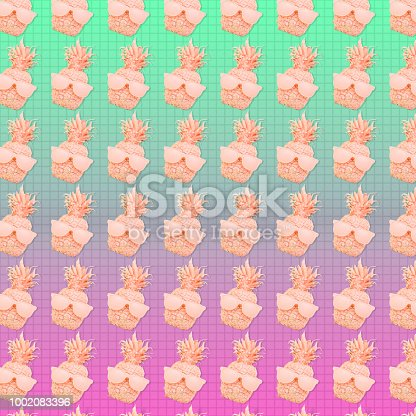 964258970 istock photo Pattern of painted pink pineapples 1002083396