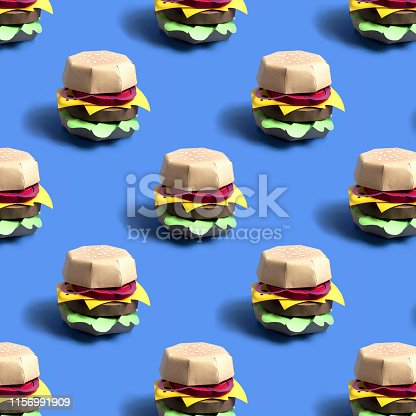 istock Pattern of paper hamburger 1156991909