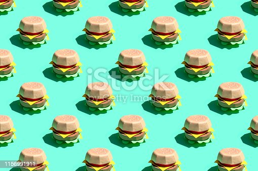 istock Pattern of paper hamburger 1156991911