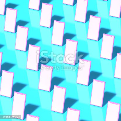 istock A pattern of pink smartphones in a plastic toy style with empty screens stand on a blue background. 3D render. 1239372778