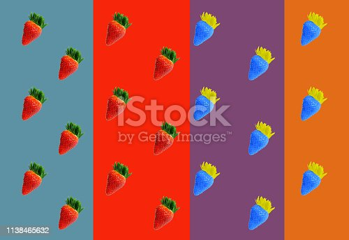 867774250 istock photo Pattern of red and blue strawberries 1138465632