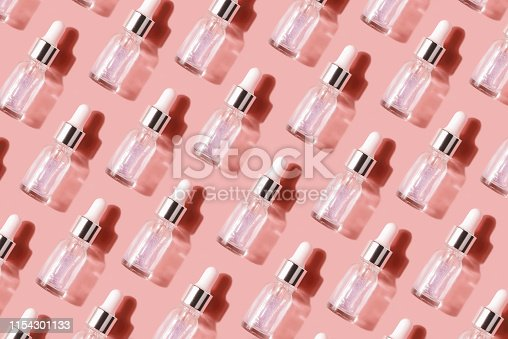 istock Pattern of their transparent bottles with cosmetic. Concept of injection is hyaluronic acid, botulin 1154301133