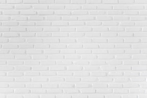 Pattern of white brick wall for background and textured stock photo