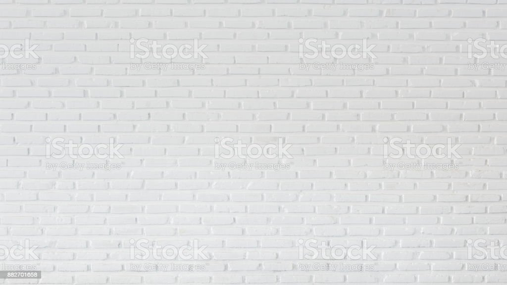 Pattern of white brick wall for background and textured, Seamless white brick wall background stock photo