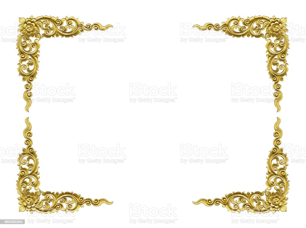 Pattern of wood frame carve flower on white background zbiór zdjęć royalty-free