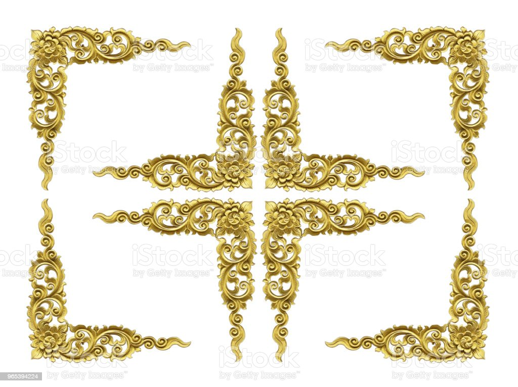 Pattern of wood frame carve flower on white background royalty-free stock photo
