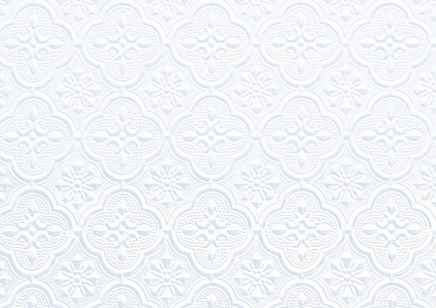 pattern on Background corrugated glass pattern on Background corrugated glass processed in white tone lace textile stock pictures, royalty-free photos & images