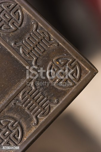 istock Pattern on metal panel: Close up corner 825644268