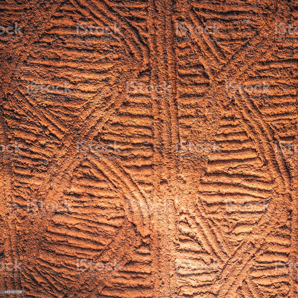 Pattern on traditional african mud house. stock photo