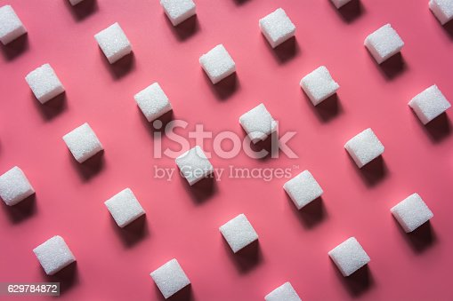 Pattern Sugar Cubes on a Pink Background