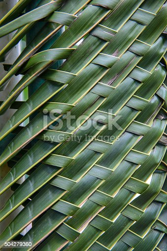 istock Pattern weave of coconut leaves 504279360