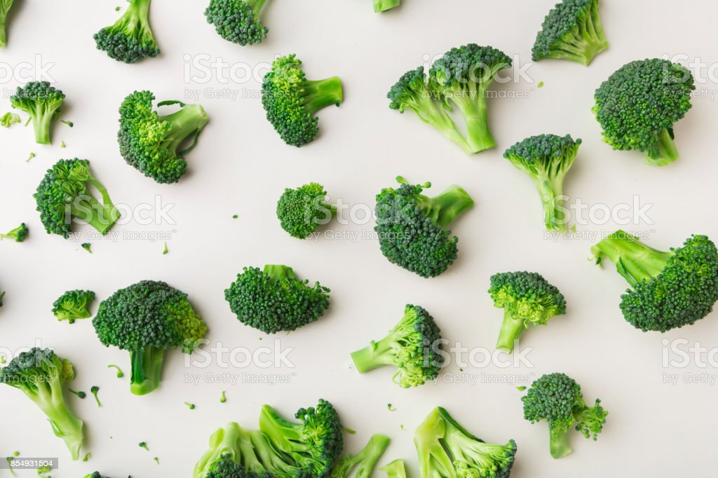Pattern with broccoli on white background. stock photo