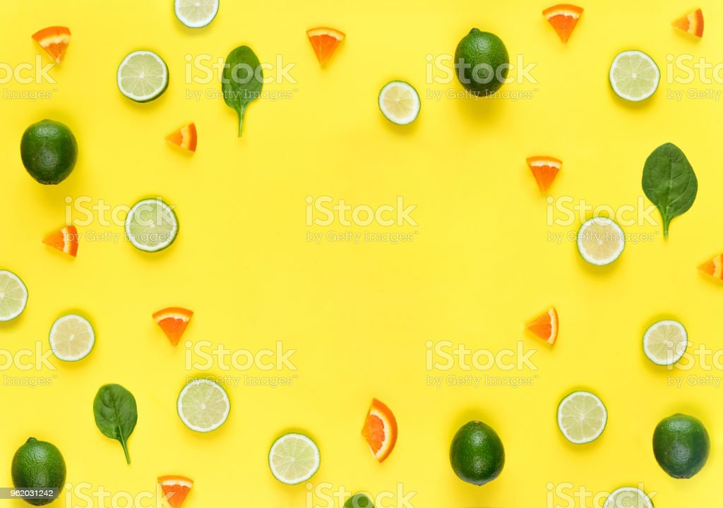 Pattern with grapefruit, lime and lemon. Tropical abstract background. Place for text stock photo