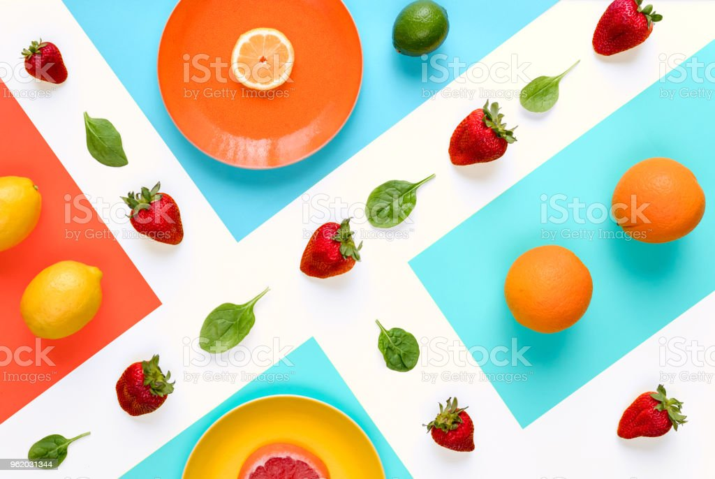 Pattern with grapefruit, strawberry, lime and lemon. Tropical abstract background. stock photo