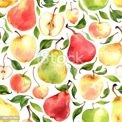 istock Pattern with watercolor apples and pears 494757360