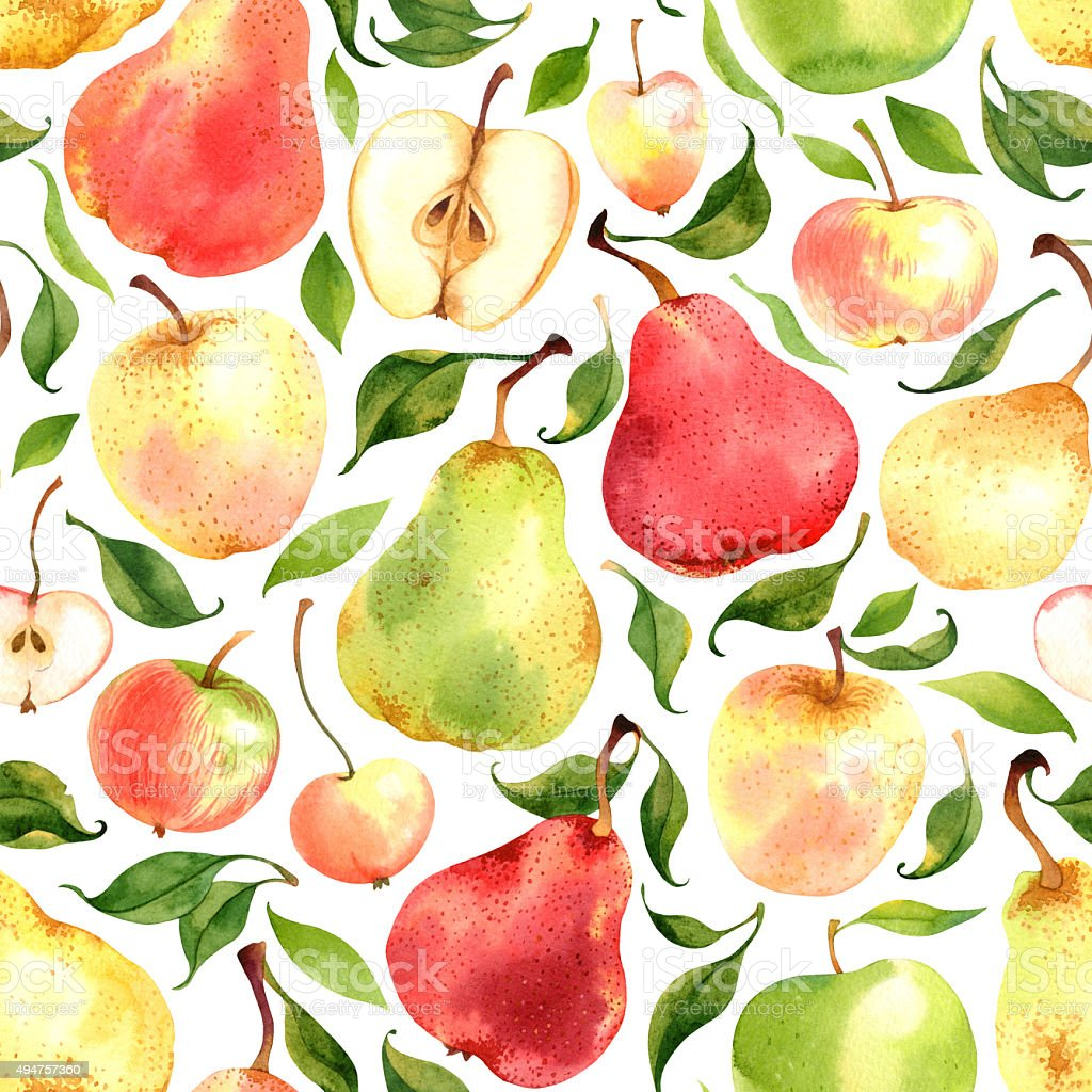 Pattern with watercolor apples and pears stock photo