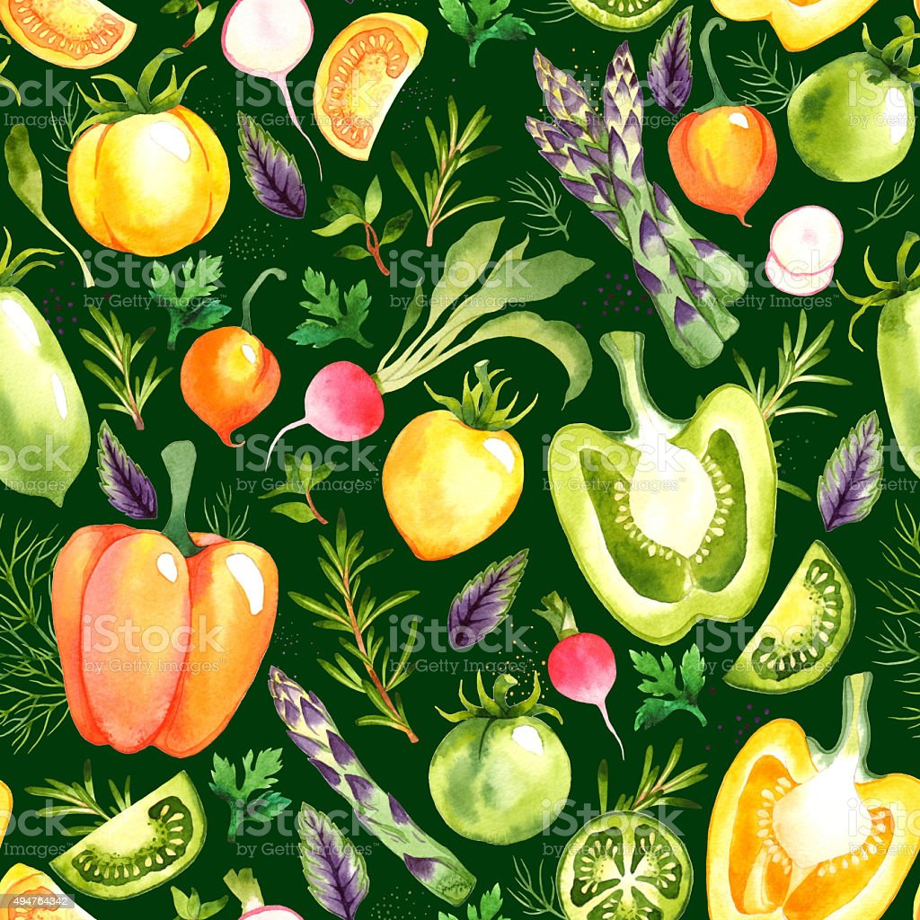 Pattern with watercolor vegetables stock photo