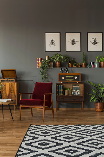 Gemusterten Teppich In Vintage Wohnzimmer Interieur Mit Roten Holz Sessel Und Plakate Echtes Foto Stockfoto Und Mehr Bilder Von Design