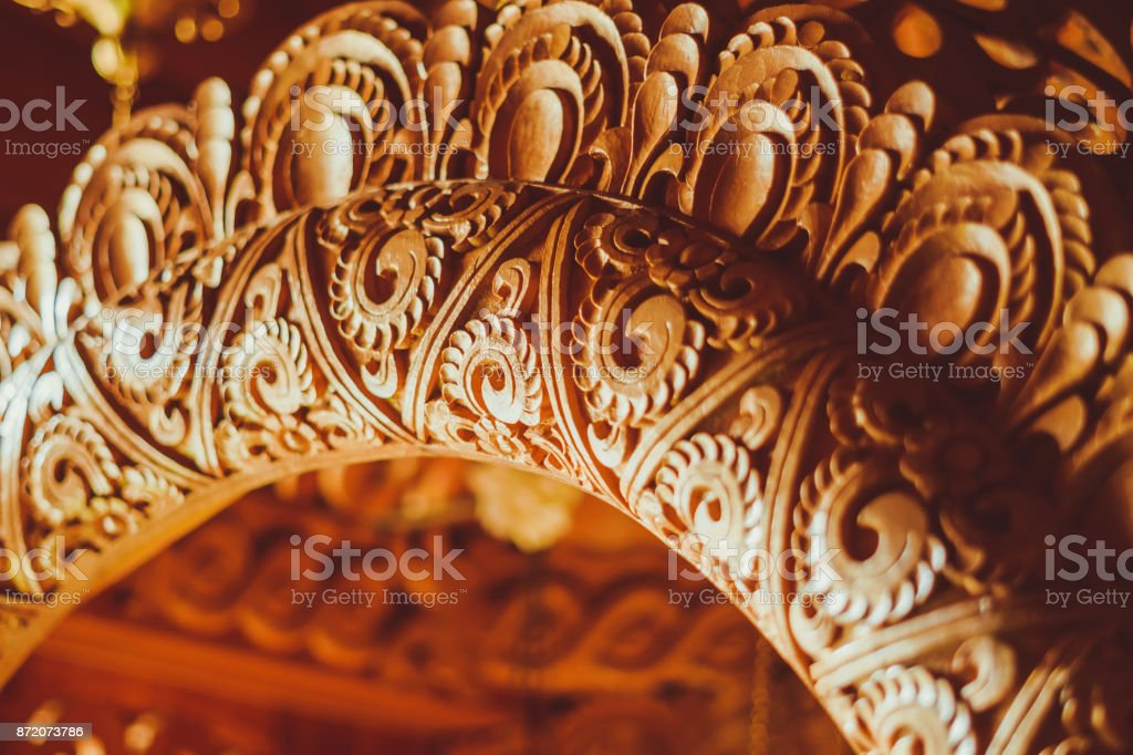 patterned carved wood stock photo