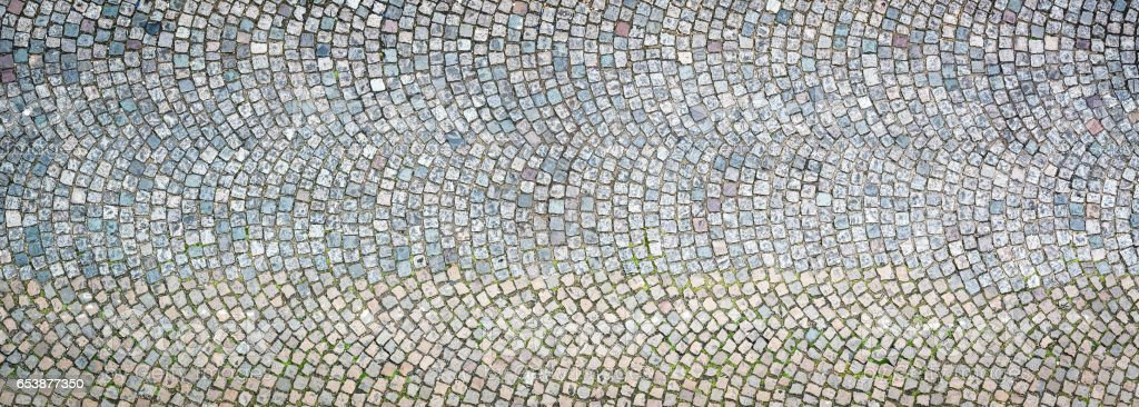 Patterned cobble background photographed from directly above stock photo