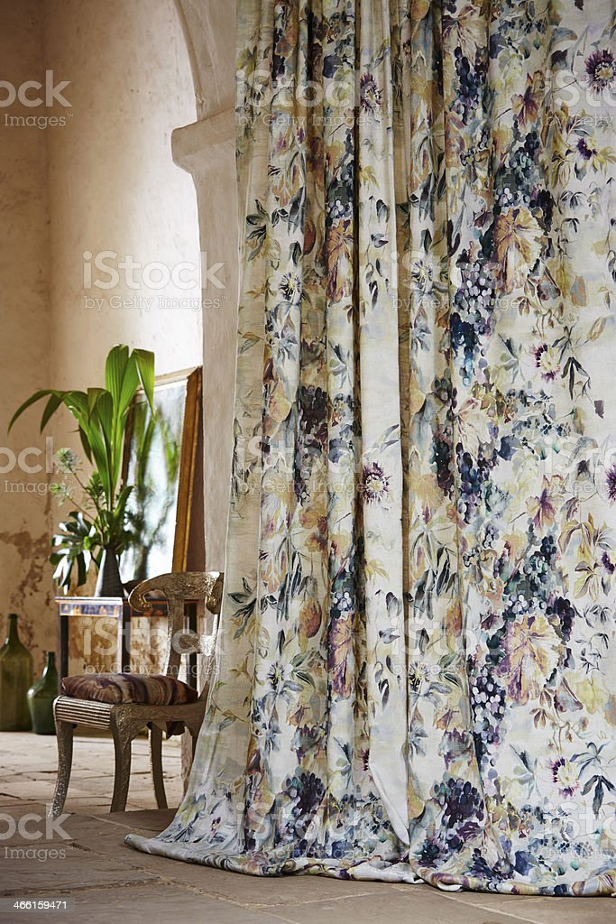 Patterned Curtains In Mediterranean Home Stock Photo Download Image Now Istock