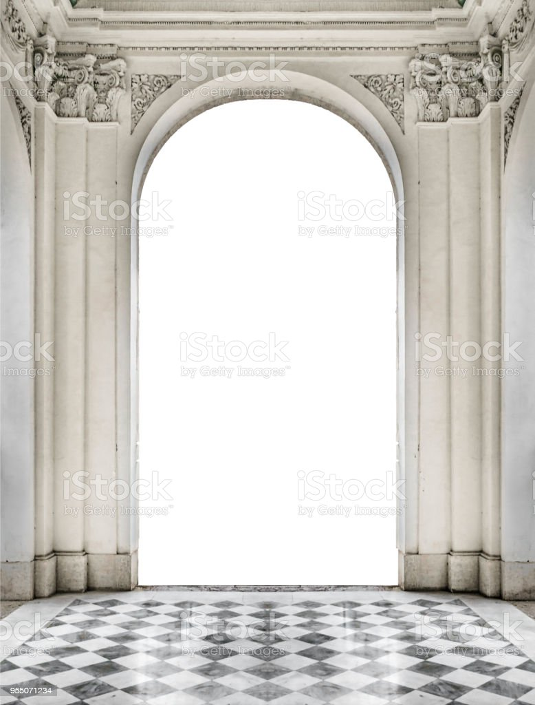 Patterned Floor and Classical Blank Entrance stock photo