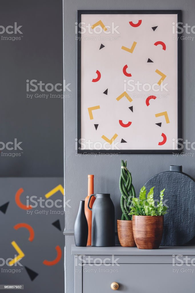 Patterned grey living room interior - Royalty-free Apartment Stock Photo