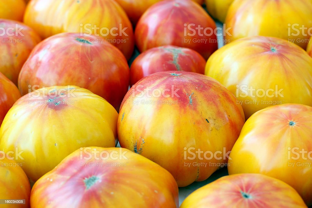 Patterned Heirloom Tomatoes Close-up royalty-free stock photo