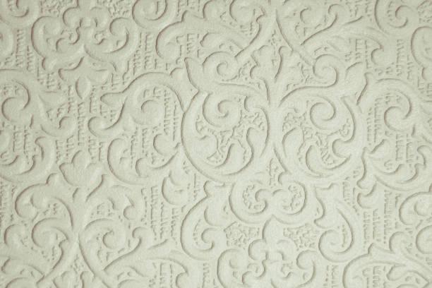 papier peint blanc à motifs - damas en matière textile photos et images de collection