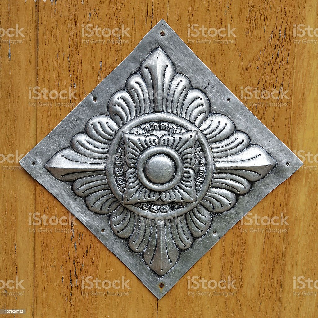 Patterns carved silver flower. royalty-free stock photo