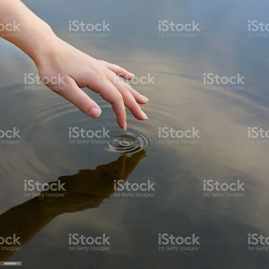Patterns in a pond stock photo