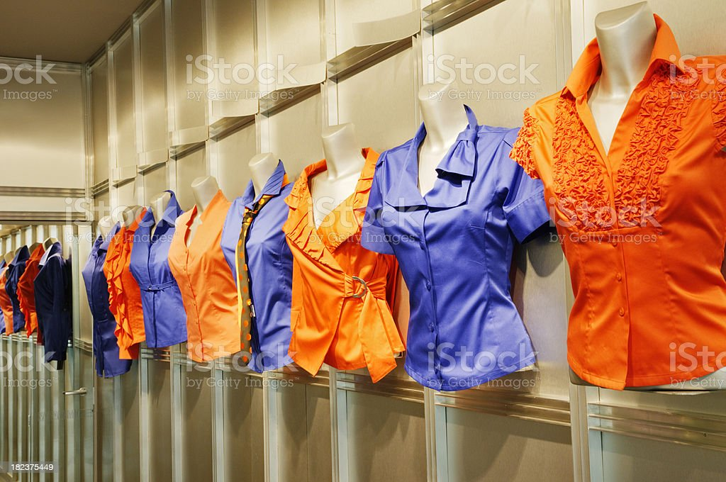 Patterns in fashion - shiny new collections of blouses royalty-free stock photo