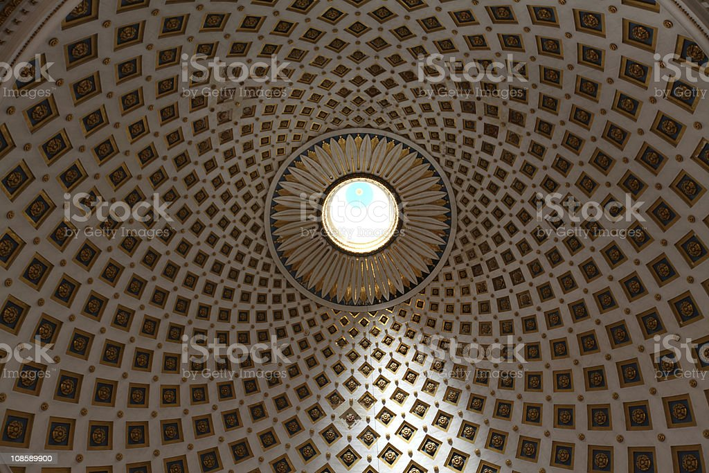 Patterns on the Mosta dome interior ceiling royalty-free stock photo