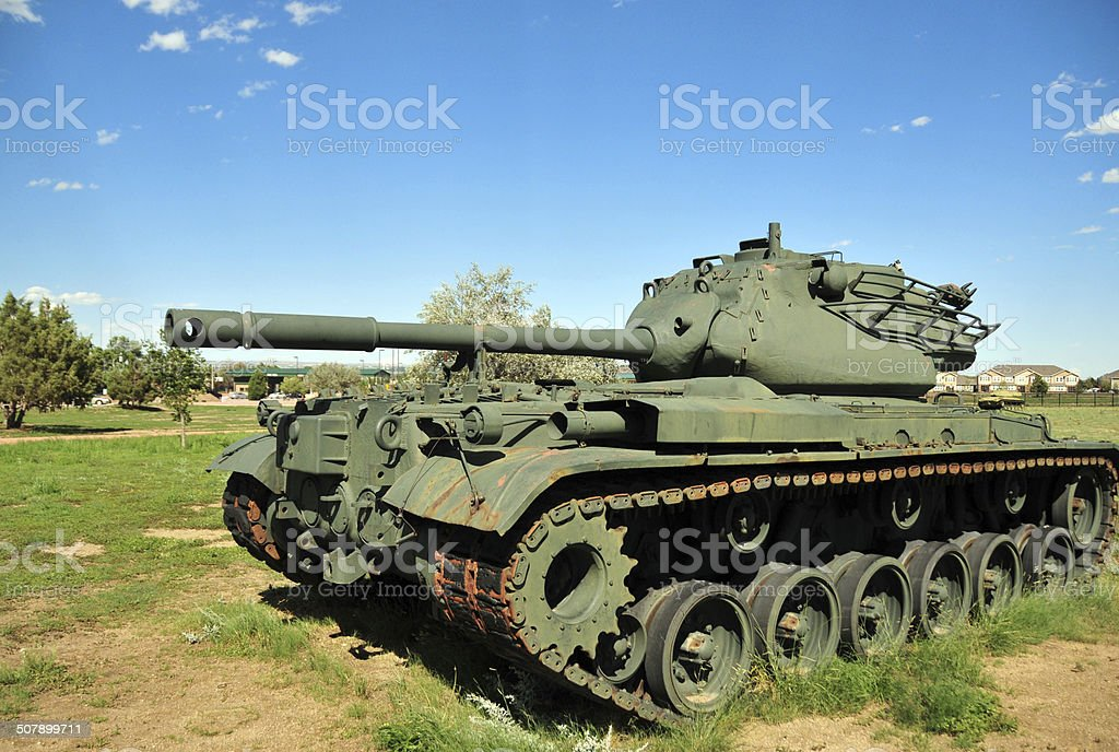 M47 Patton tank on a field stock photo