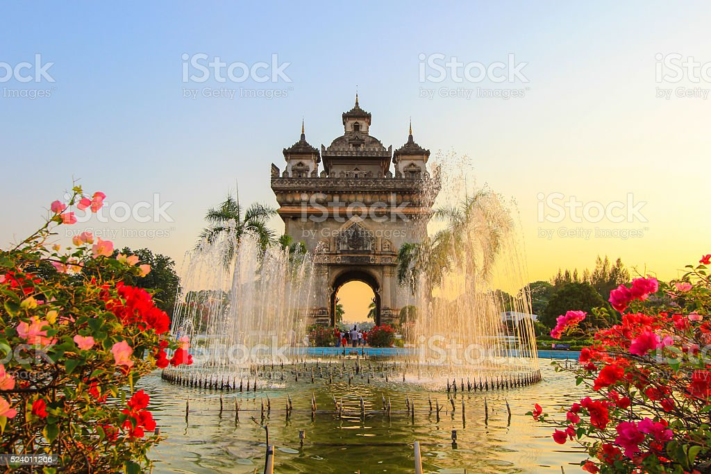 Patuxai(Victory Gate or Gate of Triumph) in the evening. stock photo