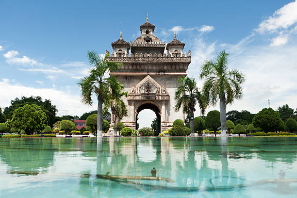 Patuxai in Vientiane stock photo