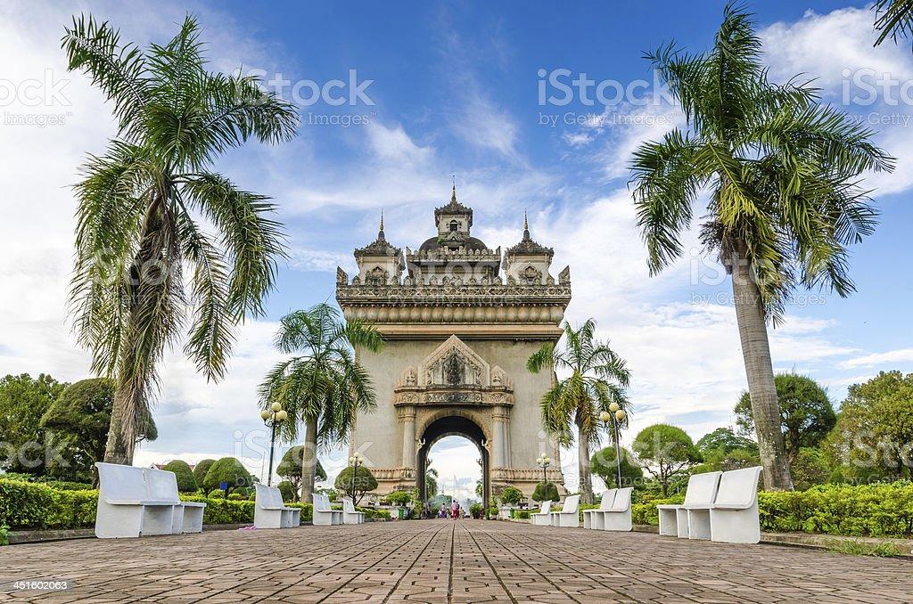 Patuxai monument in Vientiane, Laos stock photo