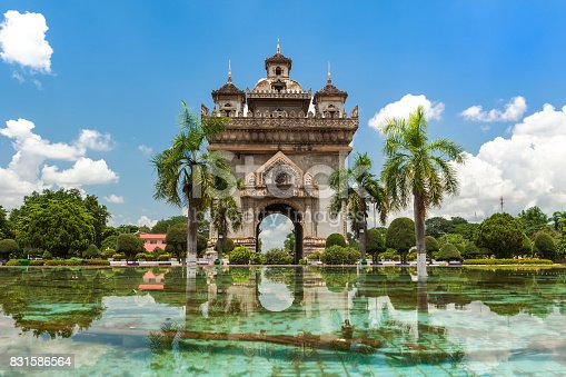 Patuxai Monument In Vientiane, travel destination and place of interest in Laos