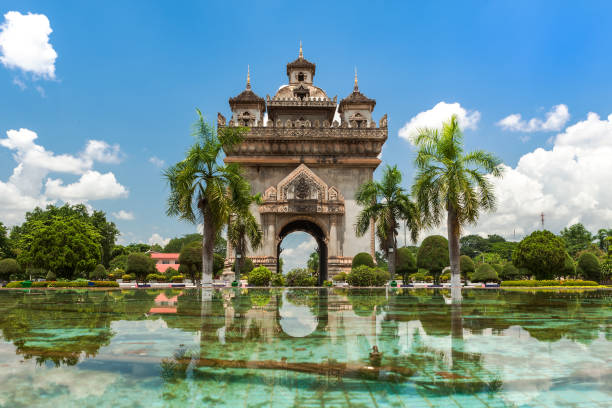 Patuxai Monument In Vientiane stock photo