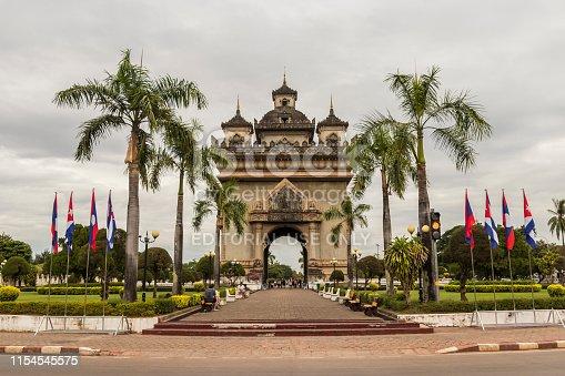 Patuxai Monument, the Laotian version of the Arc de Triomphe, the Parisian triumphal arch. Sight in capital Vientiane, Laos.