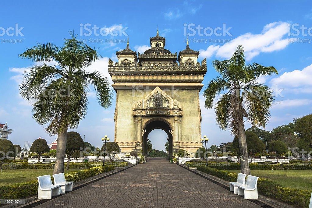 Patuxai, the Victory Gate stock photo